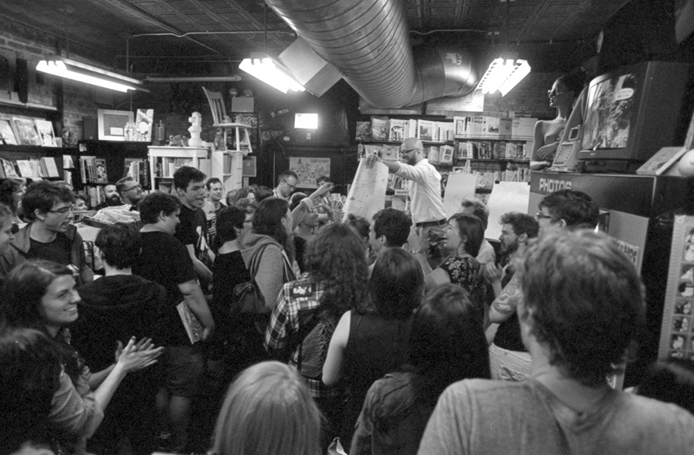 Ezra Claytan Daniels and crowd