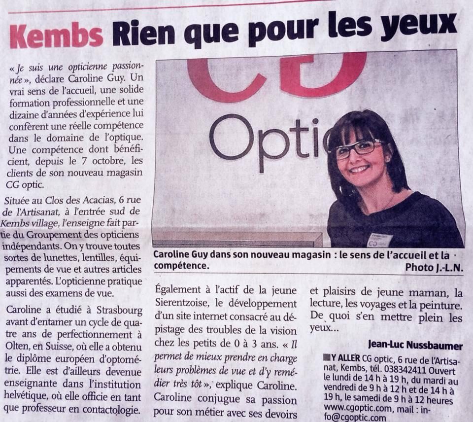 Extrait du journal l'Alsace du 5 décembre 2013.
