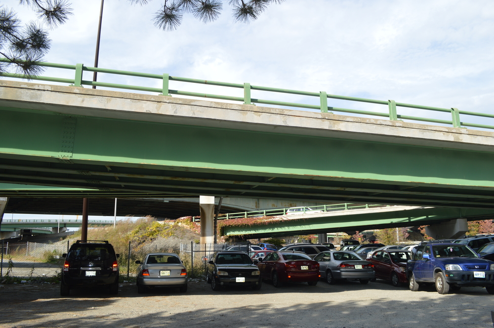 Surface Parking under the overpasses behind the convention center