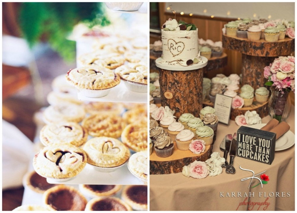 The cutest  mini pies !  Cupcakes  are an obvious choice (and they are still  cake)  but this display is so lovely.