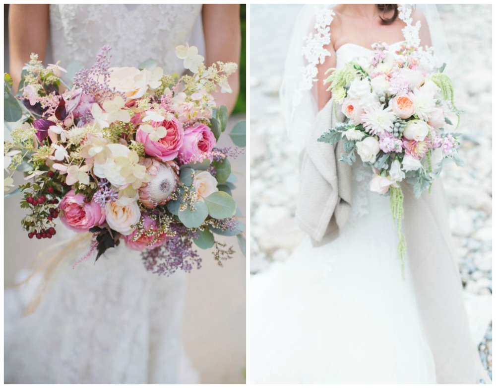 Style Me Pretty ;  Style Me Pretty . Pastel bouquets tend to look very put-together, traditional and  round . So I'm extra obsessed with these that are a little crazy!