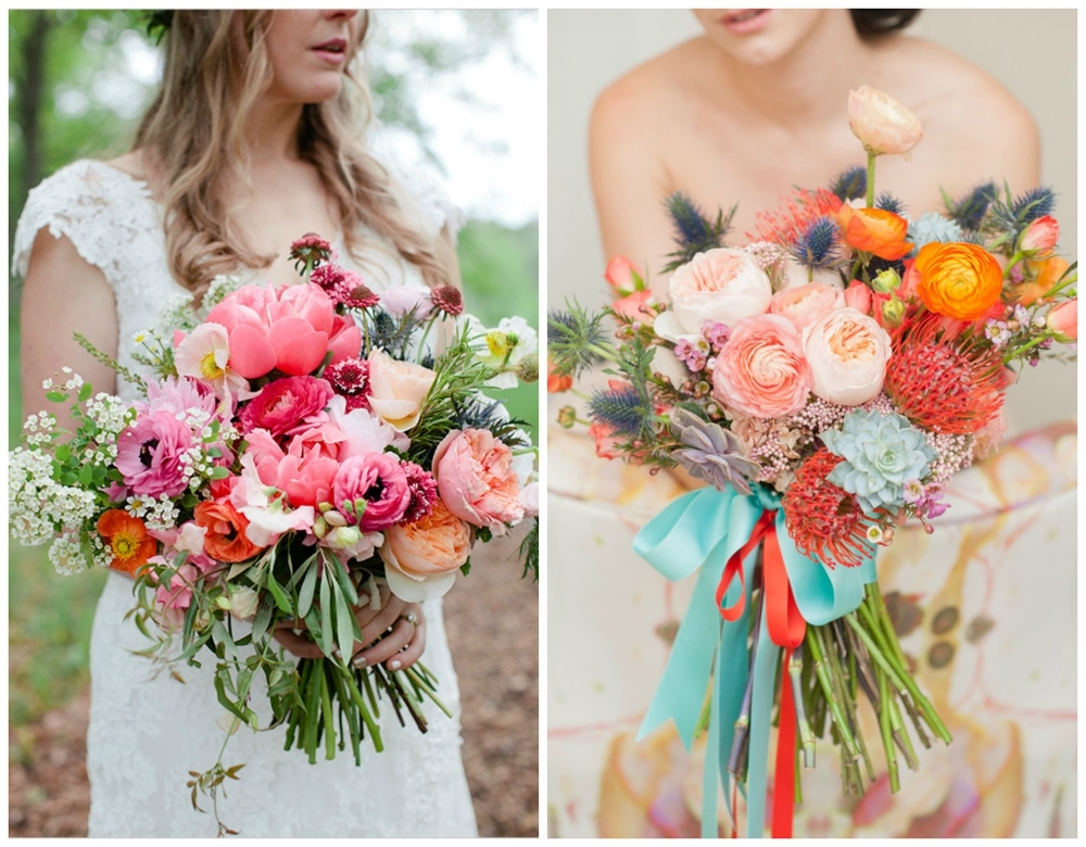 Wedding Chicks ;  Ruffled . Once again, these are full of gorgeous colors and so much texture. I love a bouquet that's tied with long ribbons!