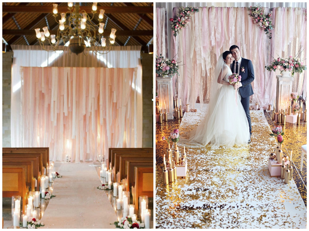 Green Wedding Shoes ;  Ruffled . These stunning pink fabric altars remind me of  this one  from an elopement at The Barn!
