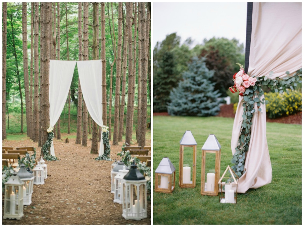 Style Me Pretty ;  Style Me Pretty . Greenery + lanterns = best idea.