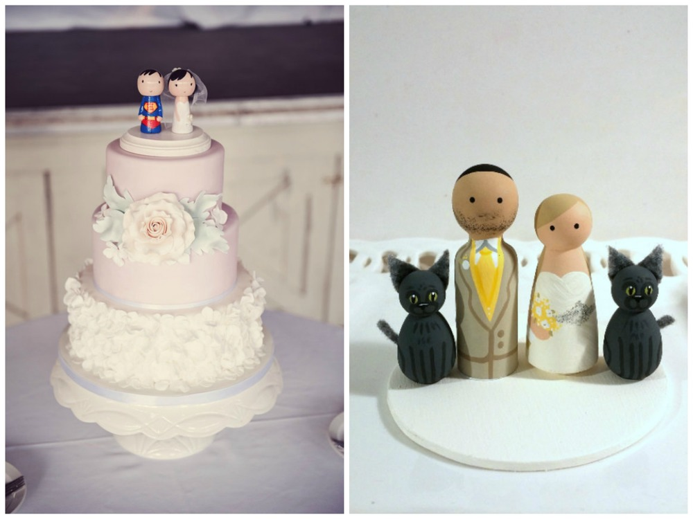 Etsy has no shortage of peg doll cake toppers. They're extremely customizable, and you can get them in a whole bunch of themes: military, superhero, lots of different occupations, with children, with pets, etc. This superhero and his bride ($90) from Sugar Plum Pegs are so precious! And don't even get me started on this bride and groom with two cats ($98) from Enamor Weddings.