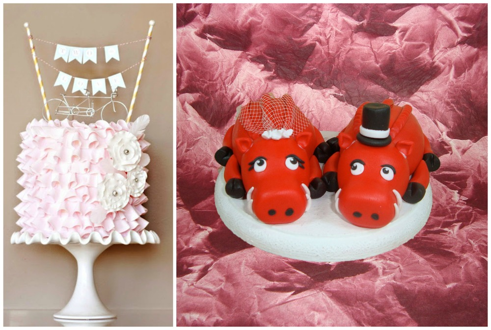 The tandem bike topper ($59) from Heather Boyd Wire makes my bike-loving heart so happy. And these little Razorback lovers ($85)... well, they're simply a necessity for all you diehard Hogs fans. They'd be perfect for a groom's cake!