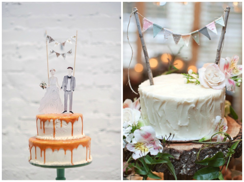 Style Me Pretty; Style Me Pretty. Bunting cake toppers are always a good idea. They'd be easy to DIY, which means you'd save some money. That painted bride and groom topper is stunning, too.