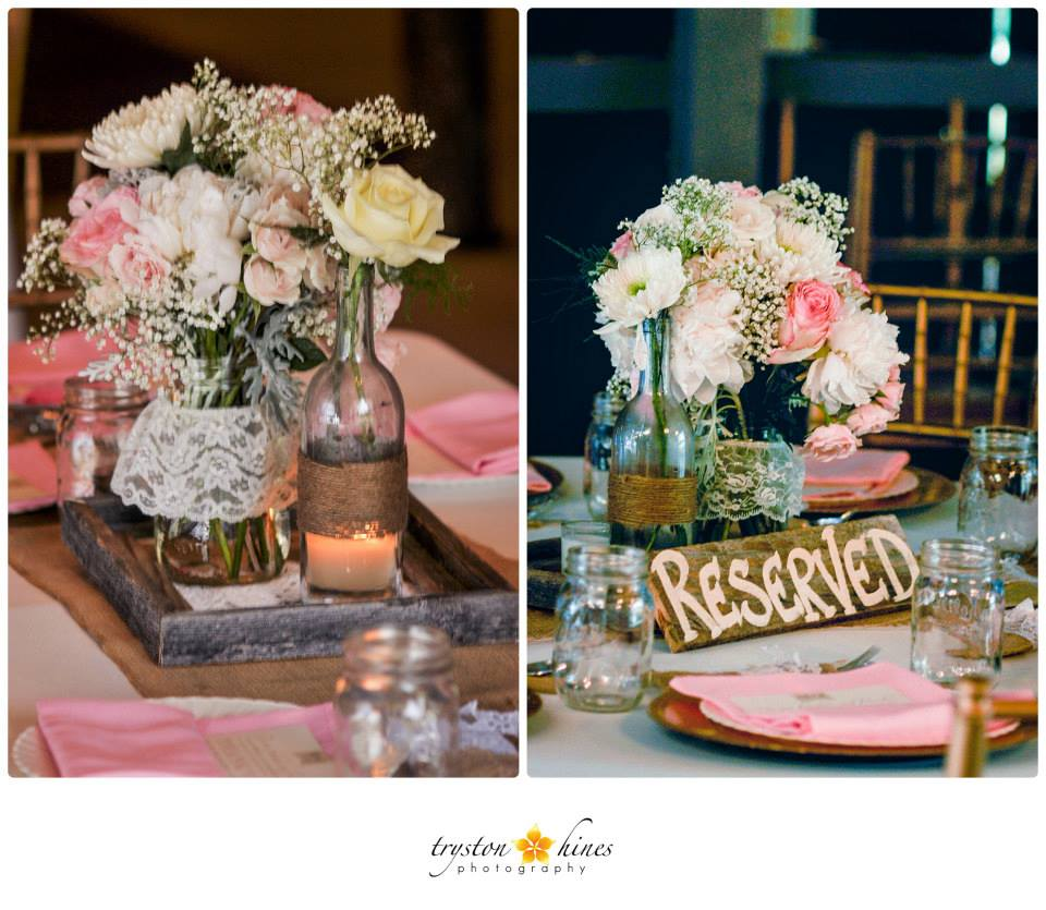 Their Tables Had White Tablecloths With Burlap Runners, Pink And White  Floral Arrangements, Lace Wrapped Jars And Twine Wrapped Bottles, And The  Prettiest ...