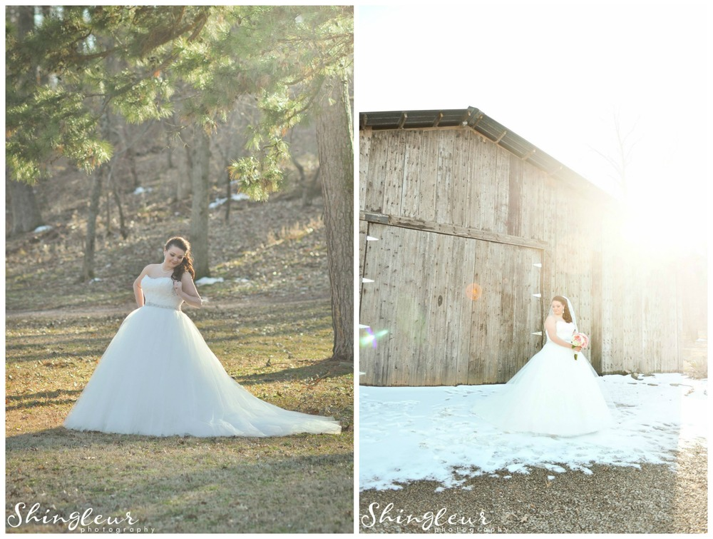 Shingleur Photography .  Brittany + Tyler were married at The Barn just last week! Brittany's bridals were taken just after a snow day, and how magical are they?! I'm in love. You can see more of these   here  .