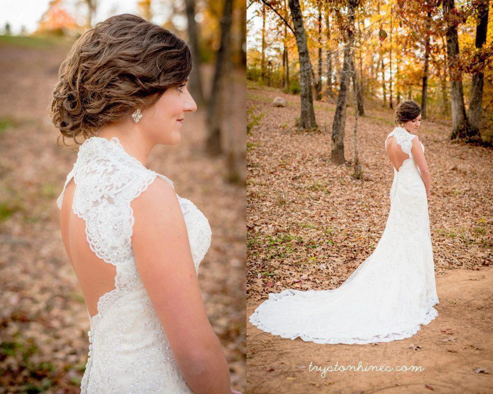Tryston Hines Photography . This pretty lady wasn't a Barn Bride, but  her bridals  were taken at The Barn in the fall, and they sure were lovely!
