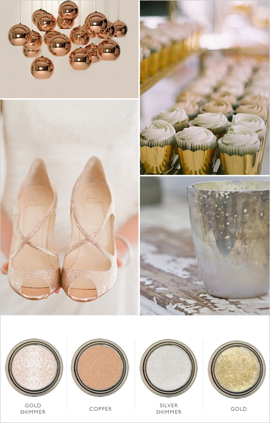 Wedding Chicks . This all metallic wedding color palette is stunning!