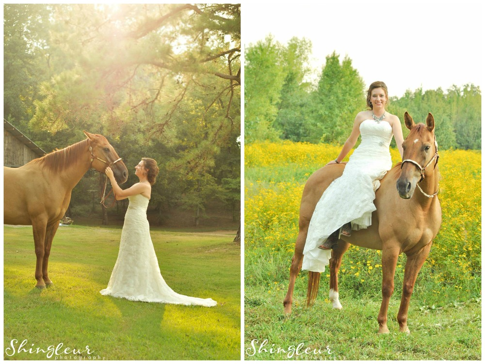 Shingleur Photography .  Lindsy  had her bridals taken with her barrel racing horse!