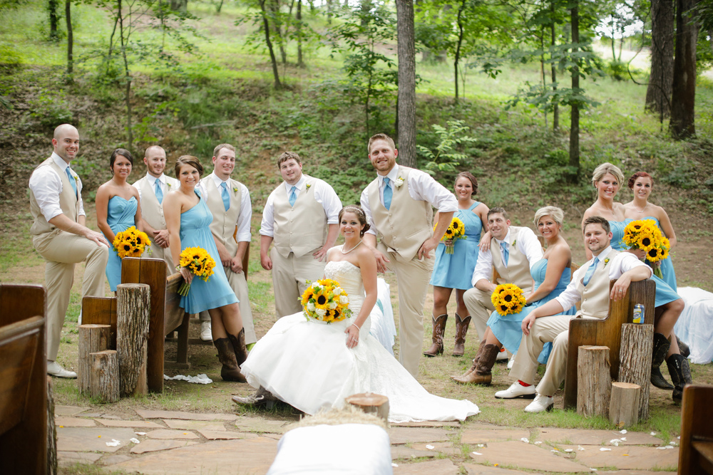 Turquoise And Yellow Wedding Ideas: Rachel + Johnnie's Turquoise & Yellow Sunflower-Filled