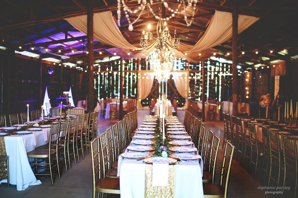 Stephanie Parsley Photography , from  Mackenzie + Tyler 's wedding. The Barn + gold glitter... it's the best.
