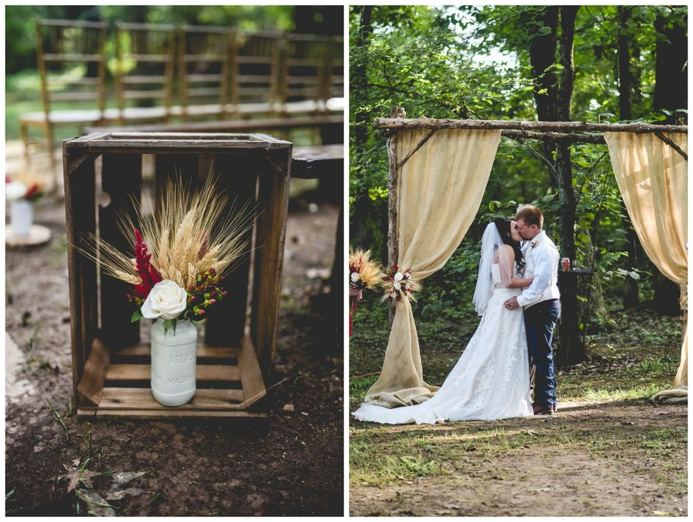 The Kindred Collective, from Jordon + Nick's wedding at The Barn. This wedding had the prettiest bouquets and floral arrangements (with lots of wheat!), cranberry accents and burlap throughout. These wooden crates with white mason jars full of flowers are some of my favorite fall decor items our team has done!