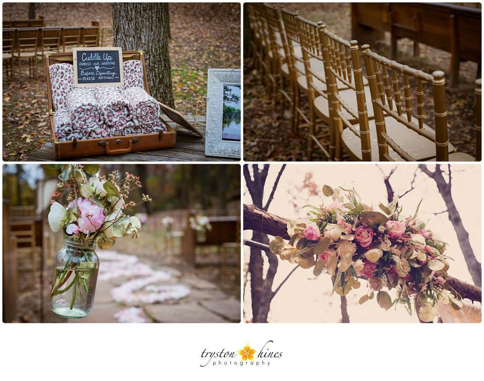 Tryston Hines Photography, from Samantha + Dalton's wedding at The Barn. This wedding is proof that even blush pink can make sense during the fall. The addition of some gold leaves and burlap throughout their decor, as well as blankets for guests to snuggle up in during their ceremony, make their color scheme totally fall-appropriate... and pink looks so pretty with a backdrop of fall leaves!