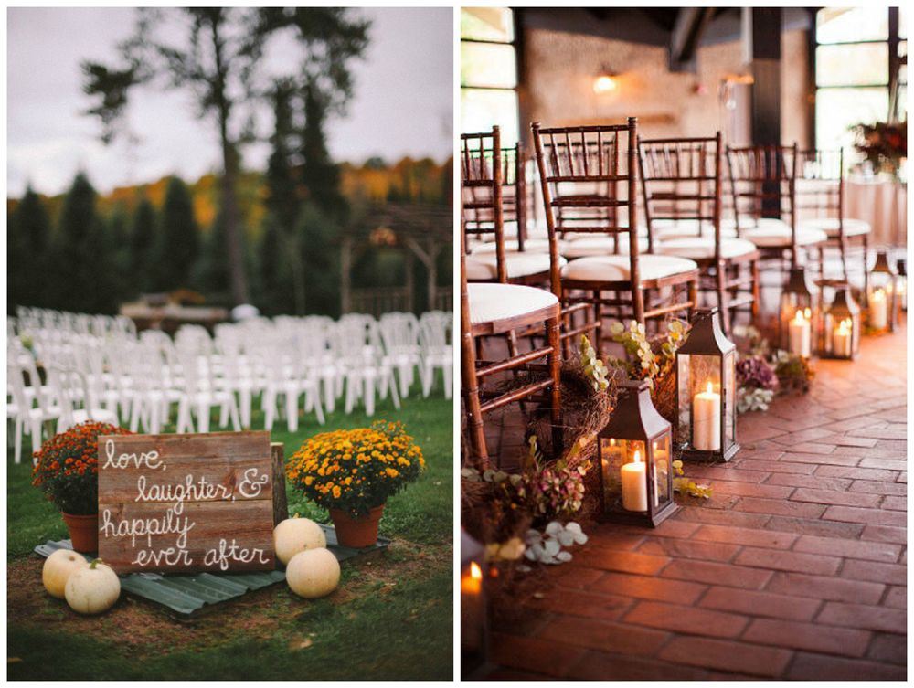 Rustic Wedding Chic; PopSugar. Nothing says fall like chrysanthemums, pumpkins or a candlelit aisle.