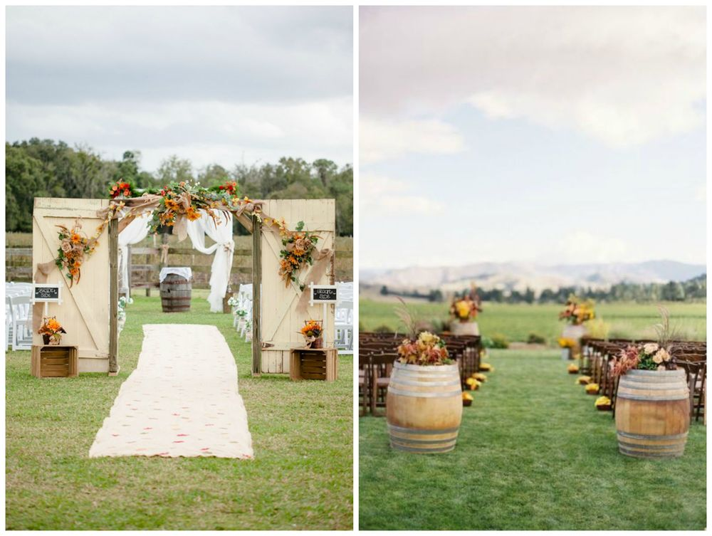 Brit + Co.; WeddingMix. Barrels are the perfect decor for rustic-chic fall weddings!