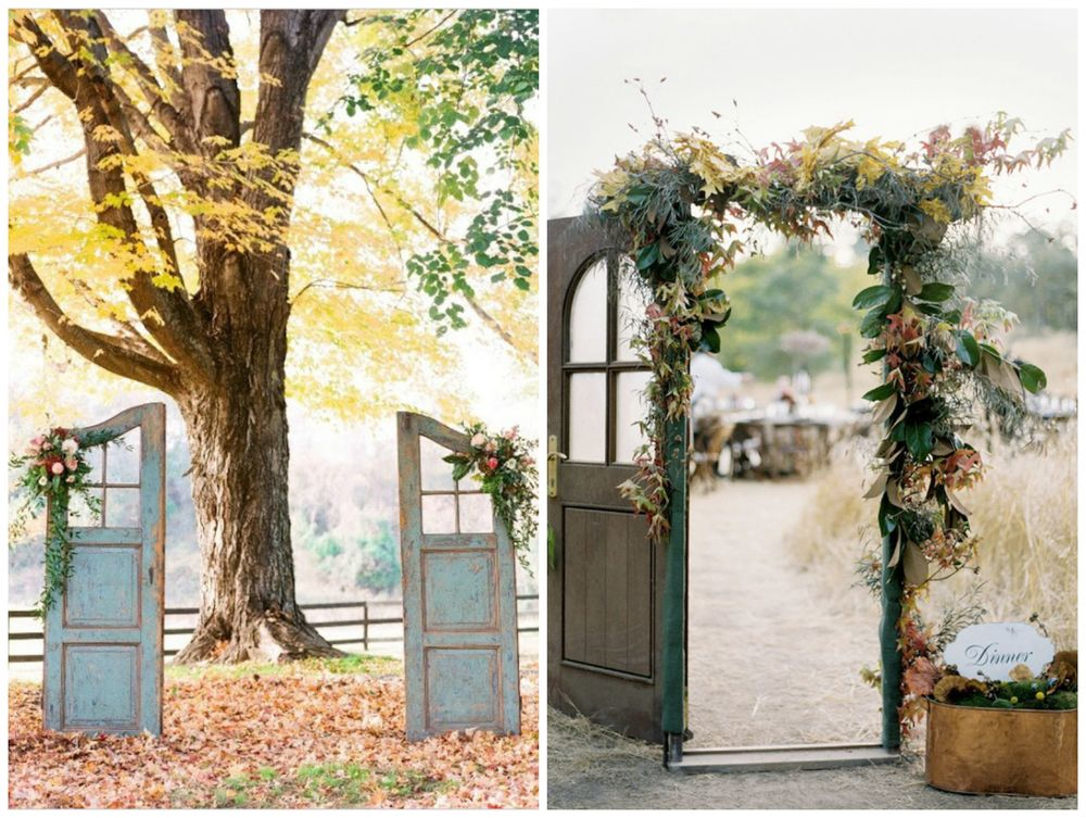 Brit + Co. Rustic, vintage doors as ceremony altars are just too pretty.