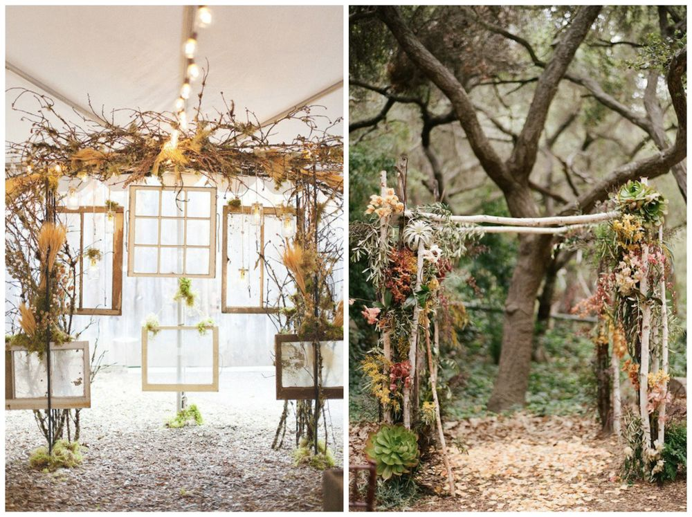 Brit + Co. I'm totally crazy over these fall altars, especially the one with all those gorgeous, rustic windows!