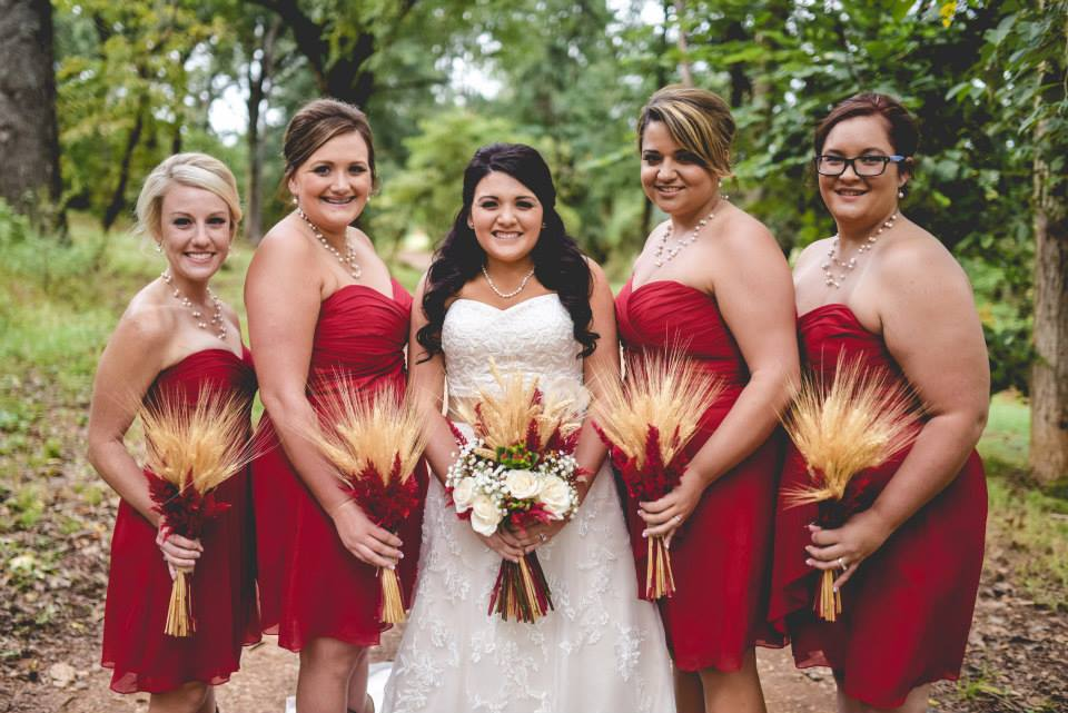 The Kindred Collective , from  Jordon + Nick 's wedding at The Barn. Cranberry, with lots of gorgeous wheat!