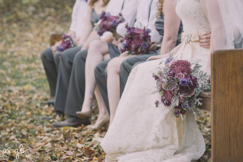 MGB Photo , from  Meagan + Alex 's wedding at The Barn. Shades of purple... beautiful against the fall backdrop!