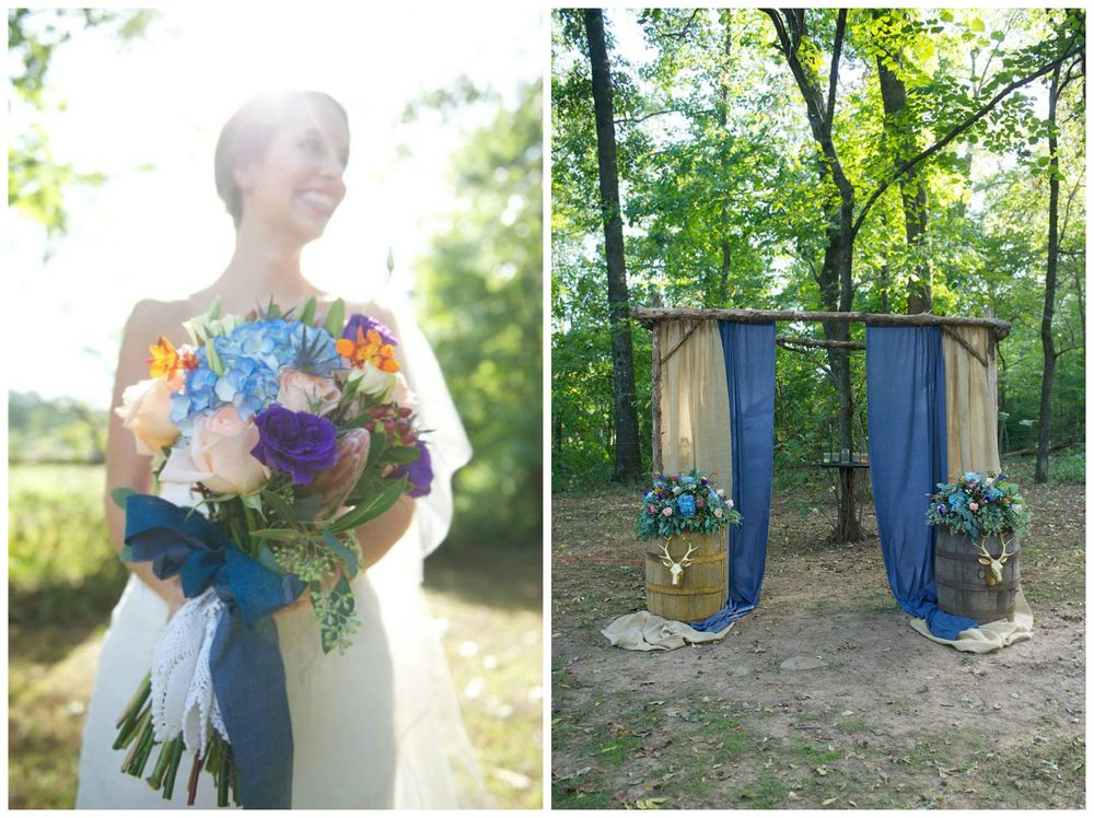 Danielle Davis Art/Photography , from Emily + Blake's wedding at The Barn. Blues and gold, chambray and burlap.