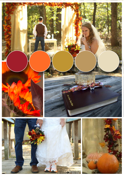 Jen Brazil Photography . It doesn't get more fall than  Cathryn + Tyler 's red, orange, yellow and chocolate color palette! (For tons of color palette inspiration, check out our  Real Wedding Color Boards  album on Facebook!)