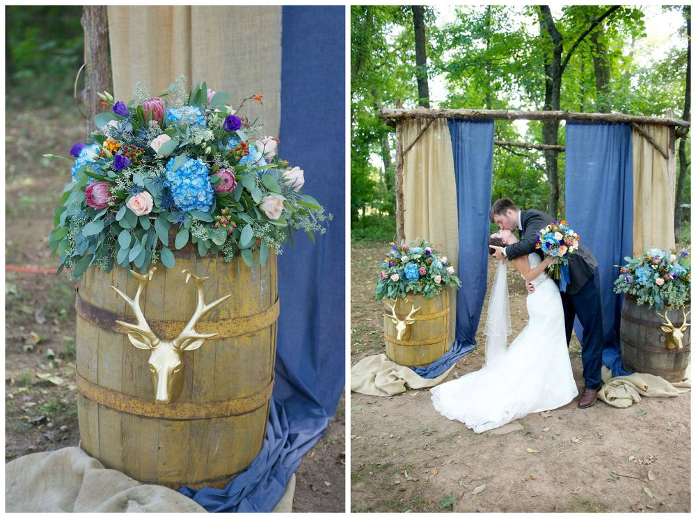 Danielle Davis Art/Photography .  Emily + Blake 's wedding had so many yummy fall details, like these gold deer on barrels and that chambray + burlap altar! So much pretty.