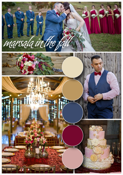 KMWarford Photography . Not sure how to make blush more fall-appropriate? Add marsala and dark blues, like  Bethany + Jamie  did! This wedding was absolutely stunning.