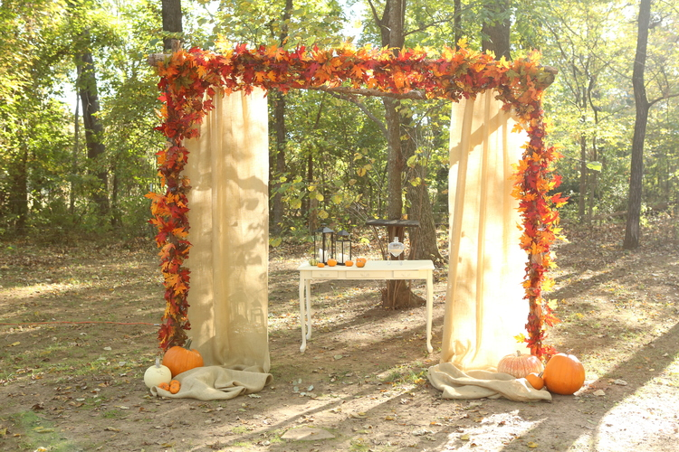Jen Brazil Photography, from Cathryn + Tyler's wedding at The Barn. Nothing is more fall than pumpkins, colorful leaves and burlap!