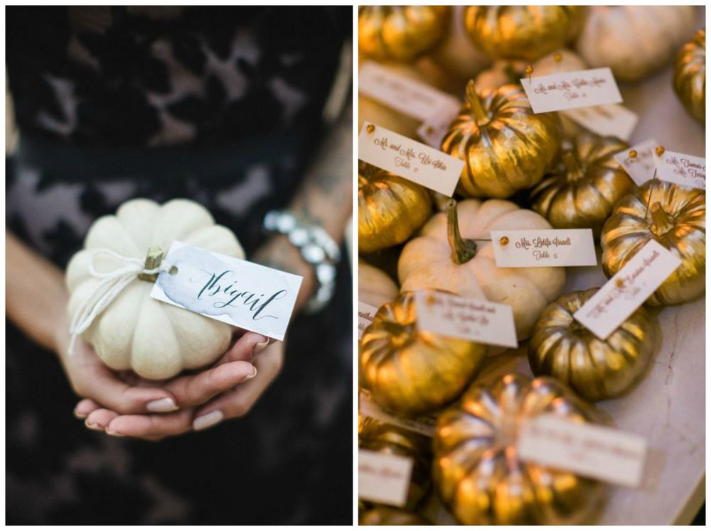 Ruffled; Style Me Pretty. Pumpkin place cards are adorable! Use mini white or orange pumpkins, or paint them gold or another color to match your color scheme. So cute!