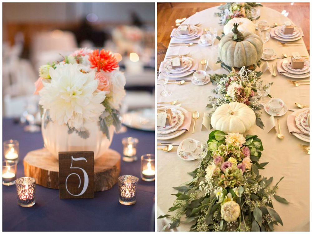 Rustic Wedding Chic; Happy Wedd. Even if your wedding decor doesn't look fall-ish at all, you can use pumpkins to make it instantly more appropriate for autumn! White or painted pumpkins paired with pastels? I LOVE this look.