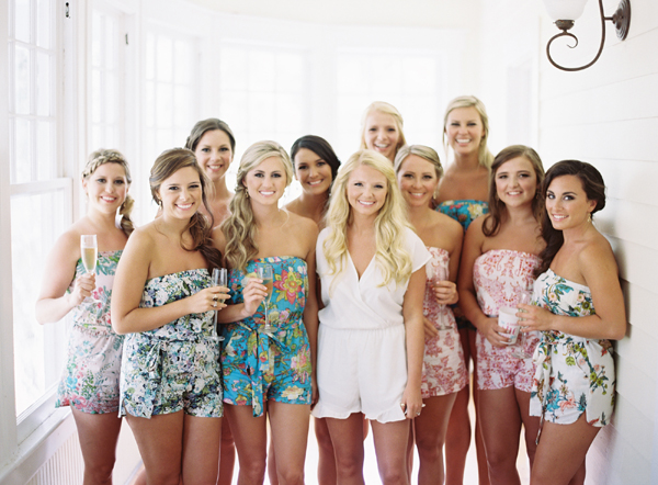 These adorable bold print rompers are the perfect addition to your destination wedding!  Found on  Southern Weddings.