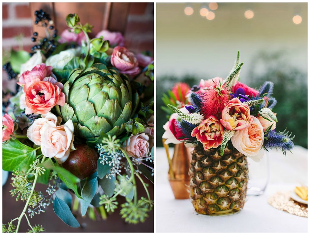 "Style Me Pretty; Brides. Is that an artichoke?! Yup. It's sort of like a big, beautiful succulent. And why not use a pineapple as a ""vase"" for floral arrangements at your reception?"