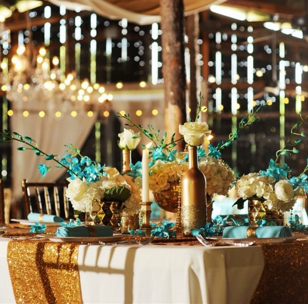 Gold And White Wedding Ideas: Paige + Dorian's Turquoise & Gold Gatsby-Inspired Wedding