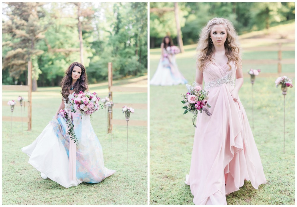 Stephanie Dawn Photography. These bridal gowns - a gorgeous pastel, floral printed gown and a feminine, pretty blush gown - from our Magical Meadow styled shoot are perfect for a fashionista, girly-girl bride.