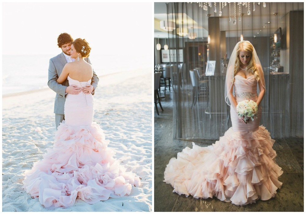 Style Me Pretty; My Wedding. Light pink + ruffles... I'm saying yes, please to these dresses!