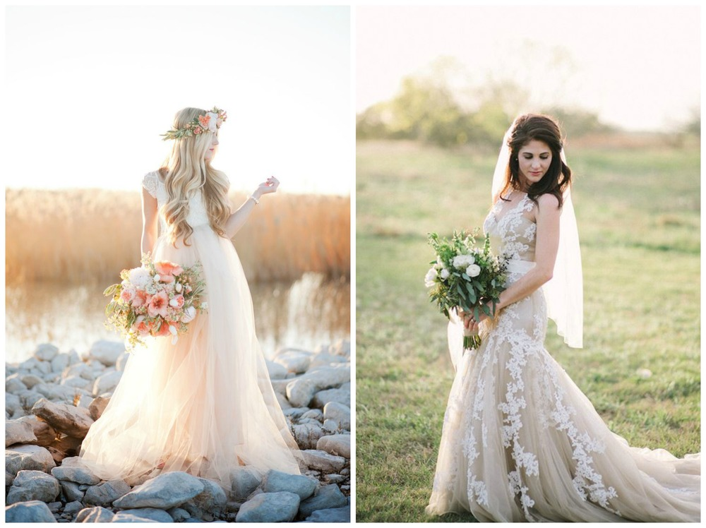 Style Me Pretty; 100 Layer Cake. A whimsical, two-piece light peach gown + an elegant beige gown with gorgeous lace details. Heart eyes for both of these!