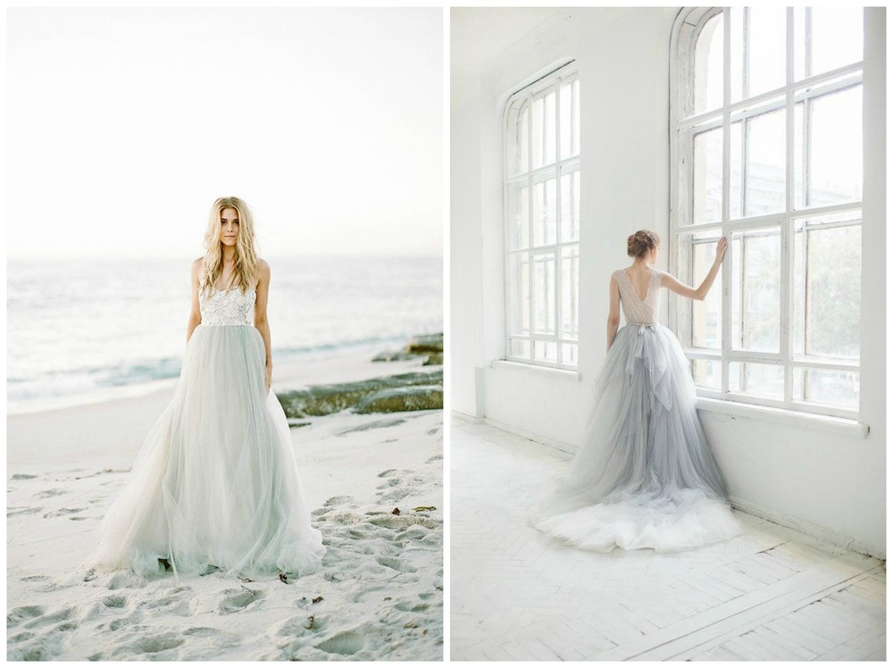 Morgan Gosch ;  Paper and Lace . Light blue is the new blush when it comes to bridal gowns! These are incredibly romantic.