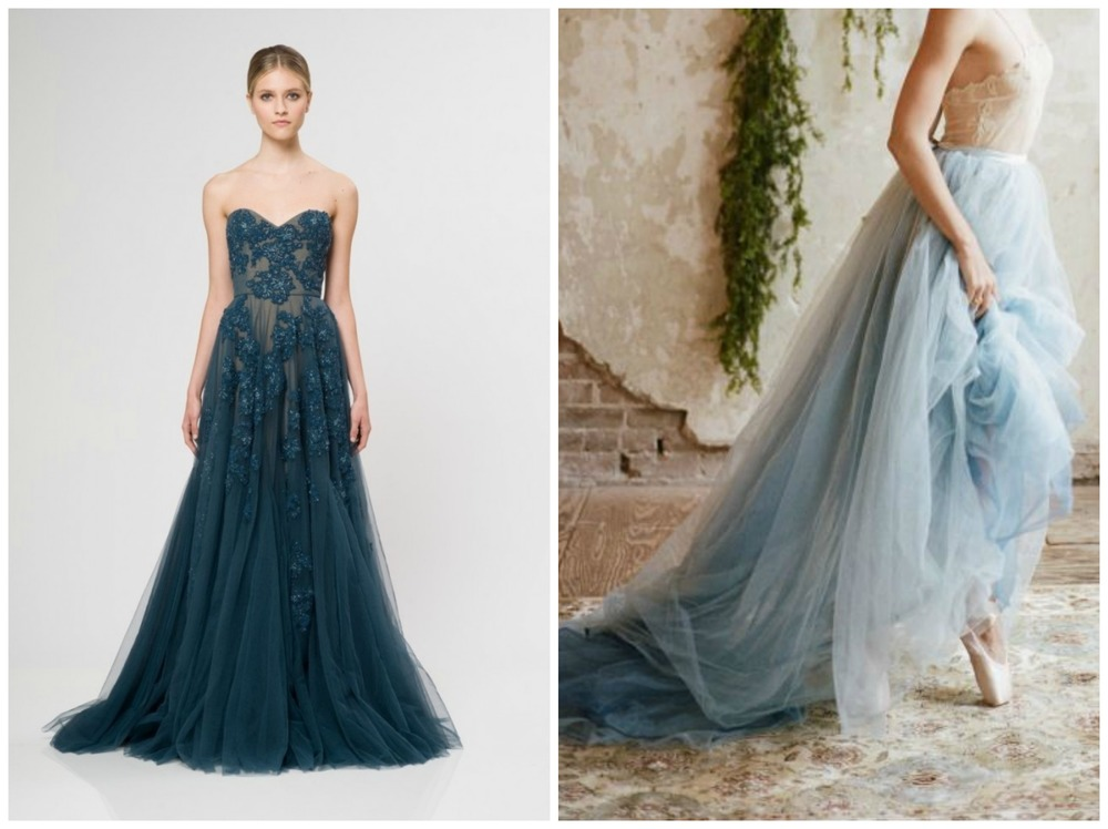 Brit + Co ;  Deer Pearl Flowers . These gowns prove that blue, no matter what shade, is dreamy and beautiful for weddings!