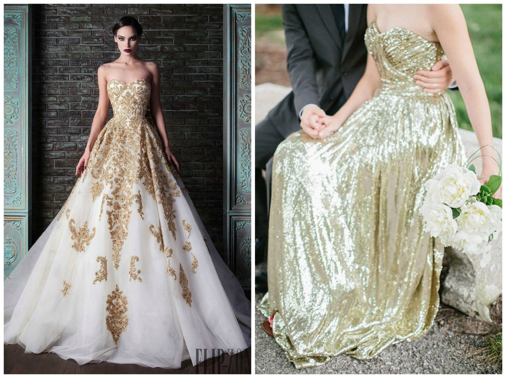 Colin Cowie Weddings; British Styles. A dress with gold details or a solid gold gown are perfect for a high-fashion, glam bride!