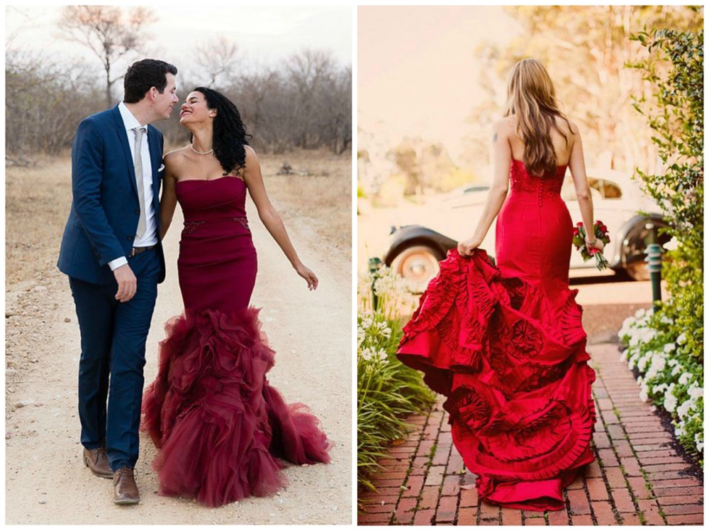 ModWedding; ModWedding. Ooh la la! Nothing says romance like a bride in marsala/red.