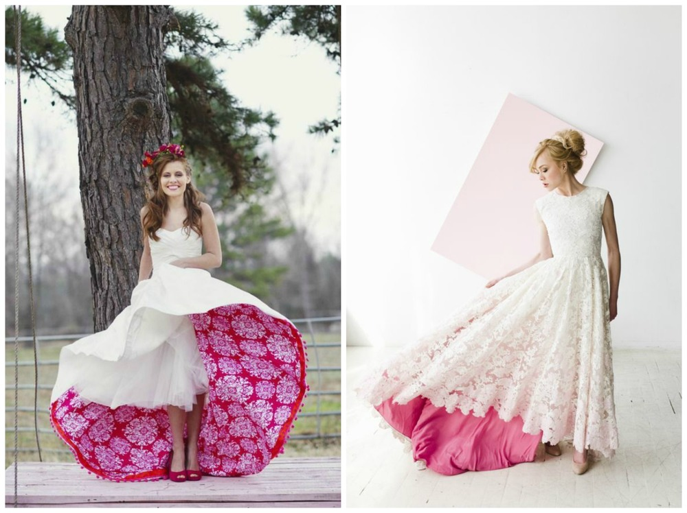 Brit + Co; Magnolia Rouge. The perfect way to wear something bright on your wedding day without committing to a dress that's brightly colored from top to bottom? Something bright or patterned peeking out of the bottom of your gown! (Fun fact: the dress on the left is from our Hot Pink Kisses styled shoot, photographed by Melissa McCrotty.)