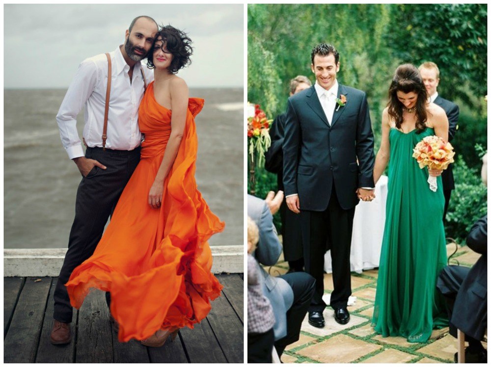 Green Wedding Shoes; Wedding Party. Bright orange and emerald green... who knew those could be appropriate for a wedding dress?!