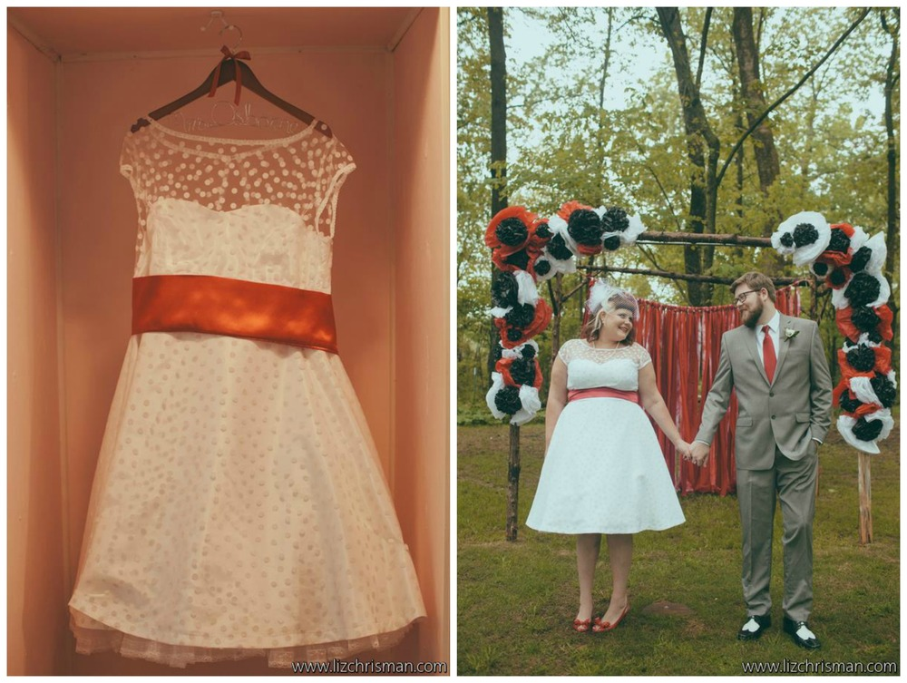 Liz Chrisman Photography .  Katie + Joe 's rock 'n' roll, pin-up inspired wedding was one of our most unique. Katie's polka dotted dress was sweet and perfectly fit their theme!