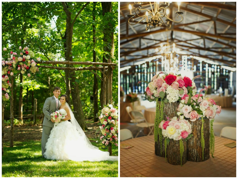 Melissa McCrotty Photography , from  Bayley + Lucas ' wedding at The Barn. This wedding had several pretty wooden details, including our gorgeous altar and pink flower-topped logs.