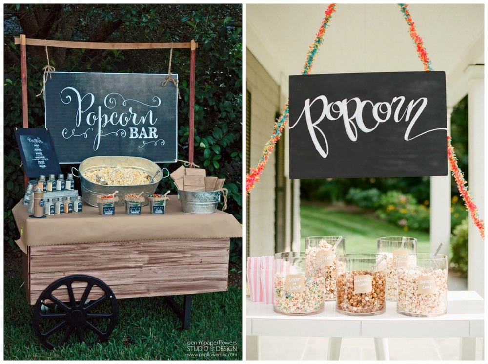 Pen & Paper Flowers; Style Me Pretty. Popcorn is a great favor idea, or it's perfect for your guests to munch on during breaks from the dance floor.