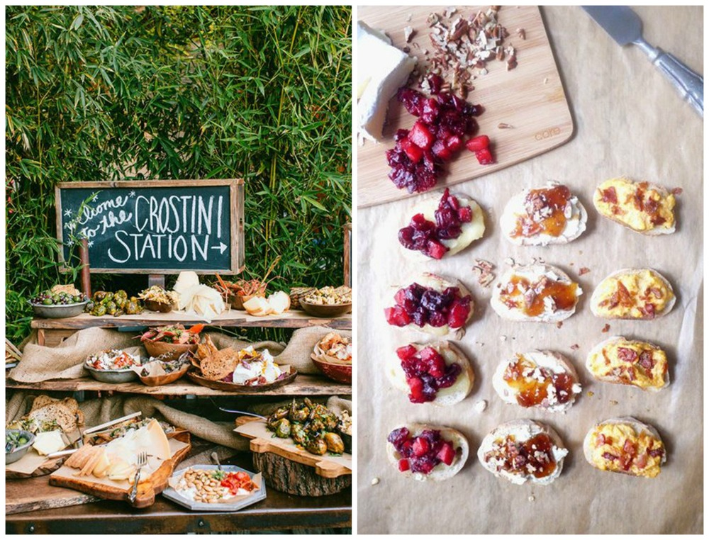 Brides; Healthy Recipe Ecstasy. A crostini station would be fairly simple to put together, and the results would be fancy and delish!
