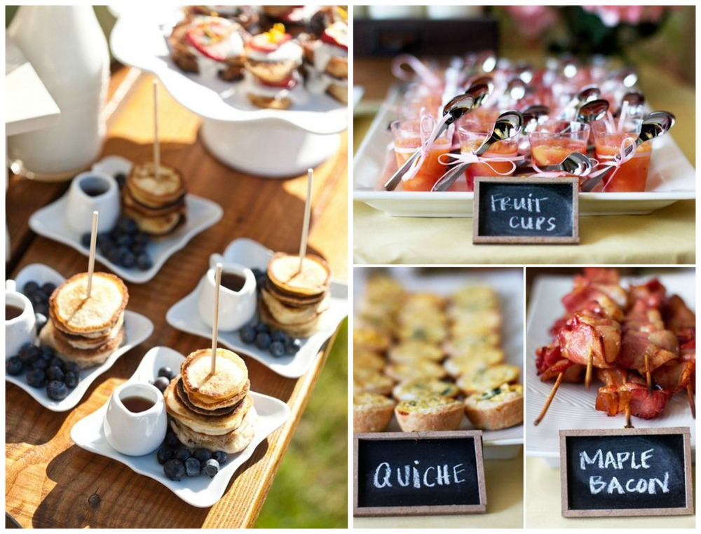 Brit + Co; ModWedding. Everyone loves brunch... Pancakes, a bagel bar, quiche and mimosas!